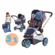 19mm pipe 3 in 1 three wheels stroller with carry cot
